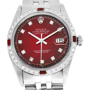 Rolex Datejust Oyster Perpetual Stainless Steel/18K Gold Red Vignette Diamond/Ruby Mens Watch