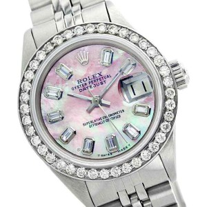 Rolex Datejust Oyster Perpetual Stainless Steel Pink MOP Baguette Diamond Womens Watch