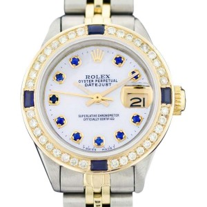 Rolex Datejust Oyster Perpetual Stainless Steel 18K Yellow Gold Mother Of Pearl Diamond/Sapphire Watch