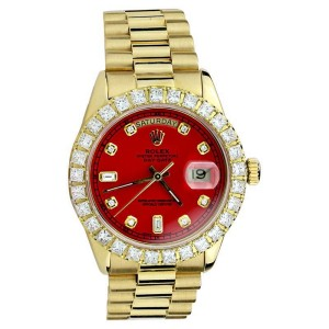Rolex Presidential 18038 18K Yellow Gold Red Face Diamond Single Quick Set Watch