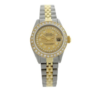 Rolex Datejust 6917 Two Tone String Champagne Diamonds Dial Womens Watch