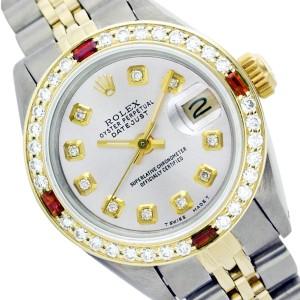 Rolex Datejust 6917 Two Tone Silver Diamond Ruby Womens 26mm Watch