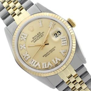 Rolex Datejust 16013 Two Tone Roman Diamonds 18K Gold Steel Champagne Dial Mens 36mm Watch