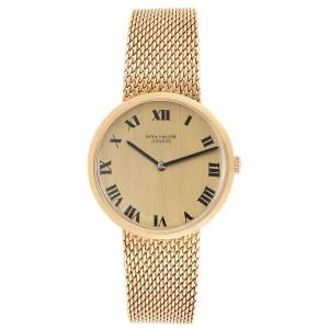 Patek Philippe Calatrava Yellow Gold Mesh Bracelet Mens Watch 3562
