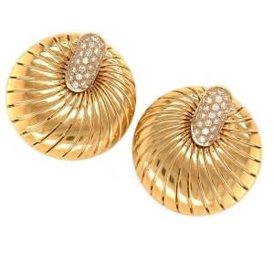Demner 18k Yellow Gold Shell Diamond Earrings