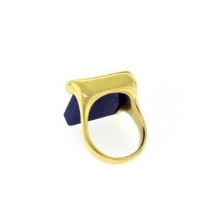 Tiffany & Co. Elsa Peretti 18K Yellow Gold & Square Lapis Lazuli Ring