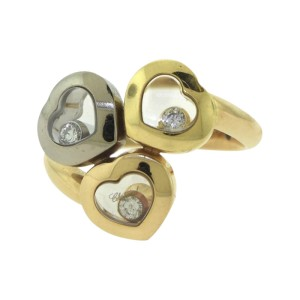 Chopard Trilogy of Hearts 18K Yellow, White & Rose Gold Floating Diamond Triple Heart Ring Size 6