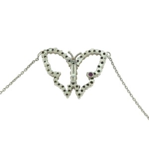 Roberto Coin Tiny Treasures 18K White Gold Ruby & Diamond Open Butterfly Pendant Necklace