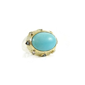 David Yurman Renaissance  Sterling Silver  Turquoise, Diamond, London Blue Topaz Ring