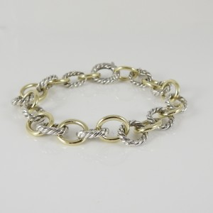 David Yurman 18K Yellow Gold and Sterling Silver Oval Link Bracelet