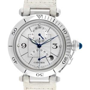 Cartier Pasha Power Reserve GMT Mens Steel Watch W3103755