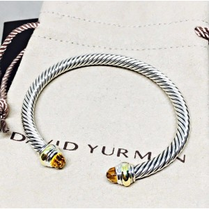 David Yurman Cable Classic Sterling Silver & 14K Yellow Gold with Citrine Bracelet