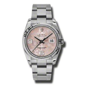 Rolex Datejust Steel and White Gold Pink Floral Dial 36mm Watch