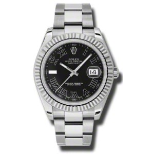 Rolex Datejust II Steel and White Gold Black Dial 41mm Watch