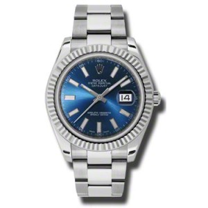 Rolex Datejust II Steel and White Gold Blue Dial 41mm Watch