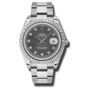 Rolex Datejust II Steel and White Gold Rhodium Diamond Dial 41mm Watch
