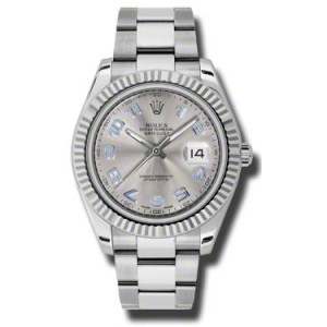 Rolex Datejust II Steel and White Gold Silver Dial 41mm Watch