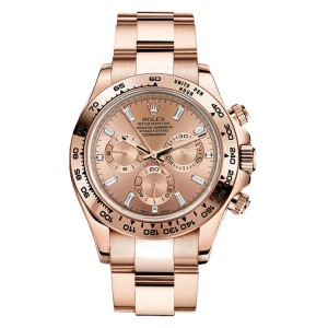 Rolex Daytona Rose Gold Pink Champagne Diamond Dial 40mm Watch