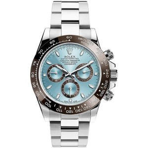 Rolex Pre Owned Steel Daytona 116520 Custom Ice Blue Ceramic