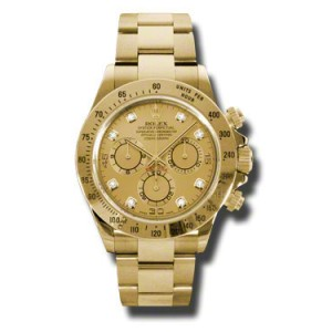 Rolex Daytona Yellow Gold Champagne Diamond Dial 40mm Watch