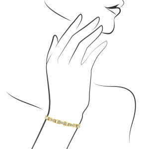Estate 14K Yellow Gold Princess Cut Diamond Bracelet Length: 7""