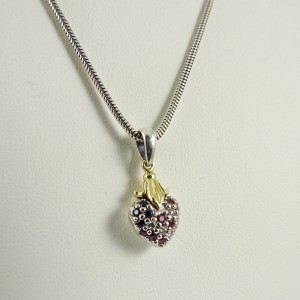 Lagos Arcadian  Sterling Silver  Ruby, Sapphire, Diamond Necklace