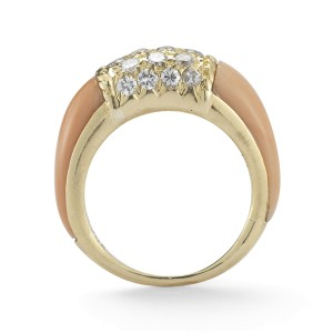 Van Cleef & Arpels Coral and Diamond 18K Gold Ring