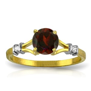 1.07 CTW 14K Solid Gold Garnet Rules Garnet Diamond Ring