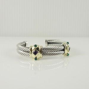 David Yurman Renaissance  Sterling Silver  Amethyst, Green Onyx Bracelet
