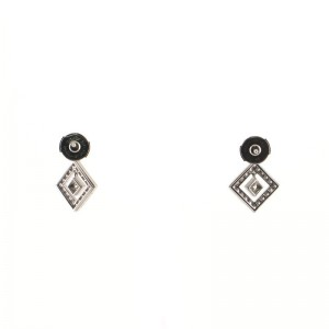 Tiffany & Co. Open Square Drop Earrings Platinum and Diamonds