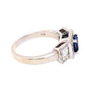 Estate 18k White Gold Sapphire and Diamond Cluster Ring