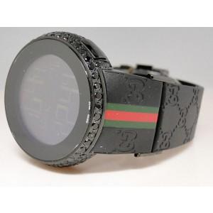 Gucci Digital Ya114207 Black Diamond 5.5 Ct Mens Black Watch