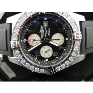 Breitling Super Avenger Aeromarine Rubber Diamond 48mm Mens Watch