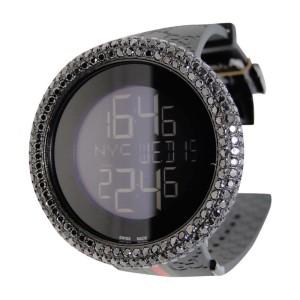 Gucci Digital Black Diamond 17.0 Ct Mens Custom Big Bezel Watch