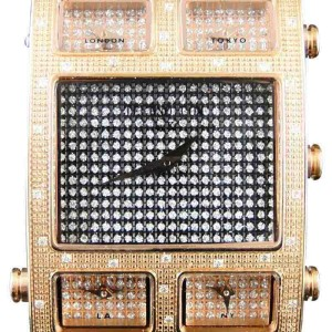 KC Techno Com W5T40R Joe Rodeo 5 Timezone Master Rose 0.50 Ct Diamond Mens Watch