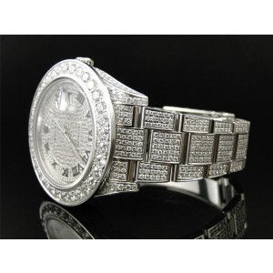 Rolex Fully Iced out Genuine 28 Ct Diamond Date Just 2 II 45mm Mens Watch