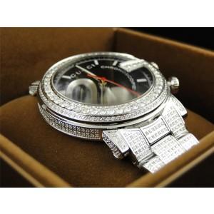 "Gucci ""G"" YA101331 Chrono 101 G 14 CT Black and White Diamond Mens Watch"