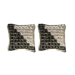 White Gold Finish Sterling Silver Black/White Round Diamond Square Kite Studs Mens Earrings