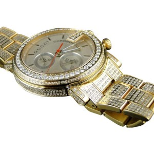 Gucci Ya101312 Fully Iced Out 14 Ct Diamond Gold Mens Watch