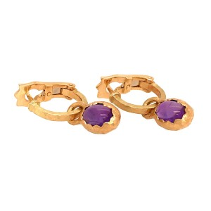 DIOR 18k Yellow Gold Vintage Cabochon Amethyst Hoops Earrings