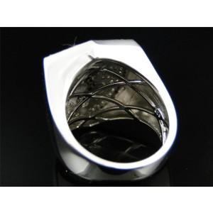 White Gold Finish Ferrari Car Logo White Black 1.5 ct Diamond Mens Ring