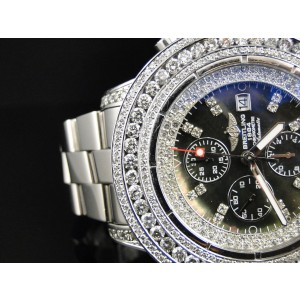 Breitling Super Avenger Aeromarine 53 MM Genuine  23.5 Ct Diamond Mens Watch