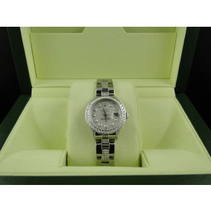 Rolex Datejust Jubilee Stainless Steel 8 Ct Diamond White MOP Dial Ladies Watch