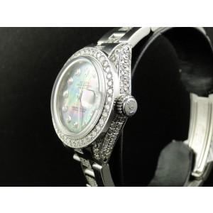 Rolex Datejust Jubilee Stainless Steel  8 Ct Diamond Black MOP Dial Ladies Watch