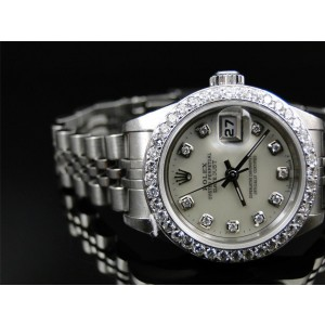 Rolex Oyster Date Just Stainless Steel Diamond Quick Set 2060 Womens Watch