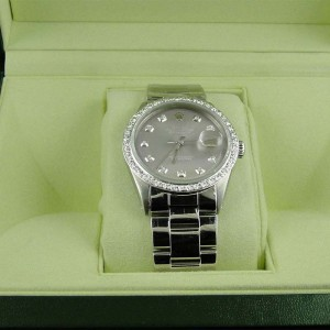 Mens Stainless Steel Rolex Datejust Oyster Watch with 2.15Ct Diamond Silver Dial