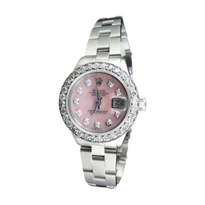Rolex Datejust Oyster Stainless Steel Diamond  Pink MOP Dial  Watch