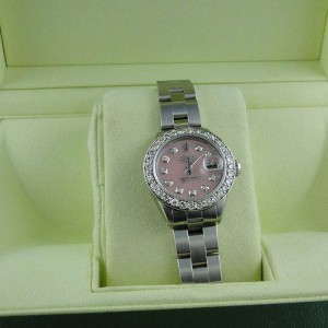 Rolex Datejust Oyster Stainless Steel 2.5 Ct Diamond  Pink MOP Dial  Watch