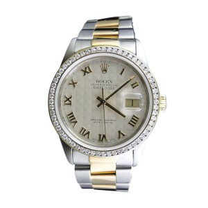 Rolex 2 Tone Datejust Oyster 18k/Steel Band Diamond Watch