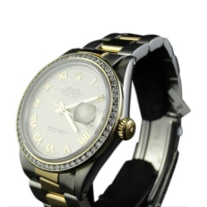 Rolex 2 Tone Datejust Oyster 18k/Steel Band 3 Ct Diamond Watch